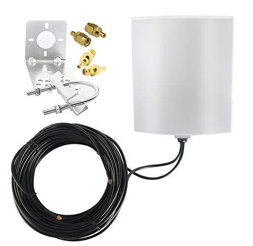 KASER Antena 4G LTE Exterior Mimo Direccional 698-2700 MHz Conector SMA con Adaptador CRC9 TS9 Compatible con Router 4G Ganancia hasta 14 dBi Recepción a más de 15 km (2 x 10 m de Cable)