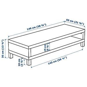 "Ikea TV Bench Stand Unit, Black-Brown, Width: 58.63"", Depth: 21.63"", Height: 13.75"""
