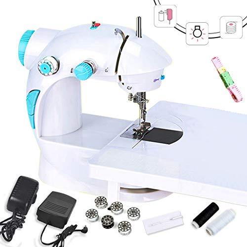MTXD Naaimachine beginners, mini-naaimachine met twee snelheden en spoelen en wit blauw naaigaren nachtlampje voor gebruik 's nachts -1.7