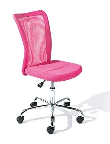 Inter Link Kinderdrehstuhl Bürostuhl Jugenddrehstuhl Schreibtischstuhl Drehstuhl Metall Bezug Mesh Pink BxHxT: 43 x 88-98 x 56 cm