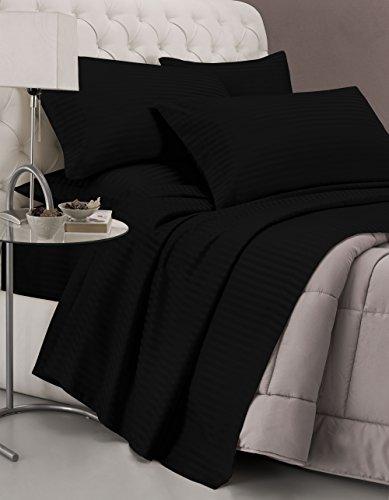 Italian Bed Linen CL-ST-nero-2P Completo Letto con Lenzuolo sopra, sotto e Federe in Tinta Unita Rigato, Raso di Poliestere, Nero, Matrimoniale, 300x250x1 cm