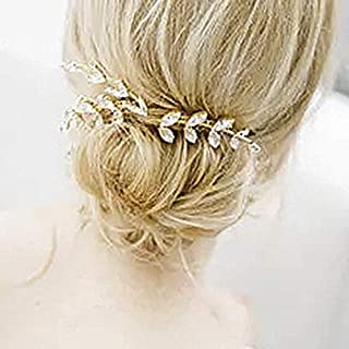Catery Bride Wedding Headband Gold Crystal Hair Vine Bridal Hair Accessories for Women and Girls