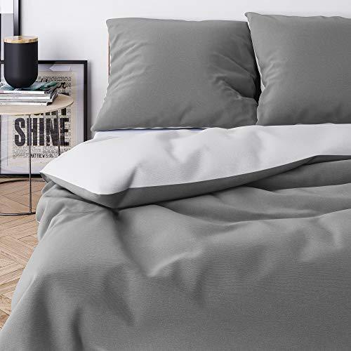 Wolkenfeld Bettwäsche 155x220 grau anthrazit - kuschelig weich & bügelfrei - 2teilig - 1x Bettbezug + 1x Kissenbezug 80x80