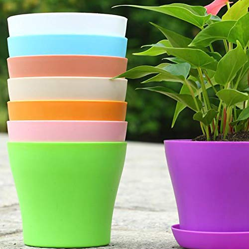 5Pcs Flower Pots, 4-8 Inch Fall Resistant Plastic Decorative Plant Pots, Indoor Bonsai Flowerpot with Drainage Hole and Tray for All House Plants, Flowers, and Cactus 5Pcs Beige XS
