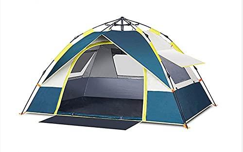 Tente de camping familiale pop-up instantanée, adaptée pour 2-3 personnes, auvent 100% étanche, tente sac à dos anti-pluie détachable, peut rapidement construire le camping-Dark blue  205*195*130cm