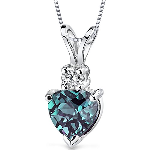 Peora Created Alexandrite with Genuine Diamond Pendant in 14 Karat White Gold, Heart Shape Solitaire, 6mm, 1 Carat total