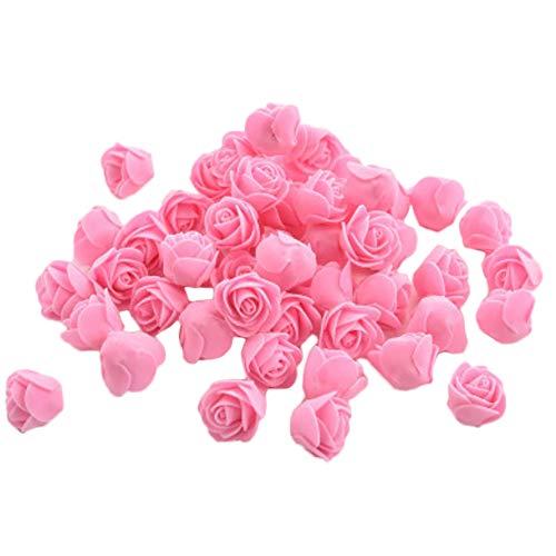 Vi.yo 50x Kunstblumen Rosen Unechte Blumen Foamrosen Schaumrosen Schaumköpfe Party Hause Dekor künstliche Rosen Rosenköpfe 3-3.5cm Pink