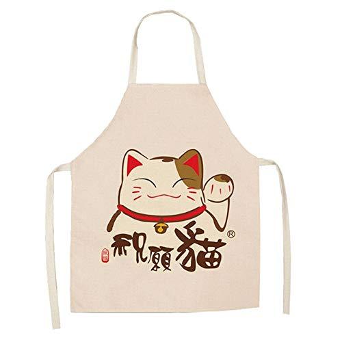 Delantal de Gato de la Suerte Delantales de Cocina para Mujer Baberos de Lino de algodón Delantal de Limpieza del hogar Delantal de Cocina para el hogar - 14,66x47cm