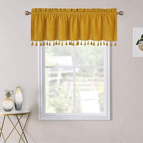 Boho Tassels Soft Luxury Room Darkening Velvet Window Valance Curtains for Bedroom Living Room, Yellow, 52 x 15 Inch