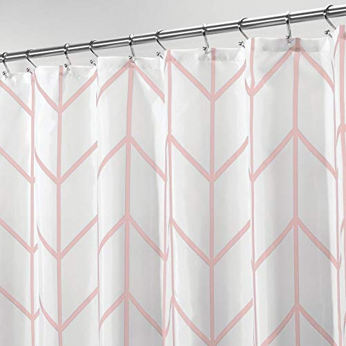 mDesign Decorative Herringbone Print - Easy Care Fabric Shower Curtain with Reinforced Buttonholes, for Bathroom Showers, Stalls and Bathtubs, Machine Washable - Light Pink
