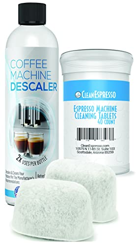 Espresso Cleaning Kit - 40 Espresso Machine Cleaning Tablets + 2 Water Filters + 2-Use Descaling Solution - Fits All Breville Espresso Maker Models - by CleanEspresso
