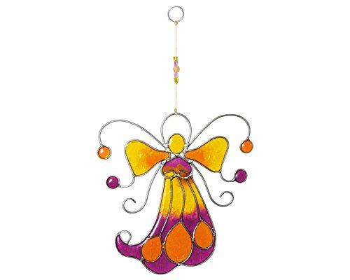 Suncatcher engel geel-paars-oranje 22 cm raam raamhanger