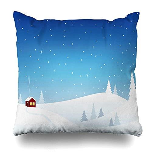 AlineAline Funda de almohada blanca azul nieve pequeña casa nevada colinas acogedora invierno vacaciones de Navidad escena marrón cabaña cielo Navidad cremallera 45,7 x 45,7 cm