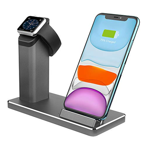 Dual Wireless Charger ZIKU 2 in 1 Aluminum Alloy Fast Wireless Charging Stand Station Dock for Airpods pro Apple Watch 5/4/3/2 iPhone11/ pro max X/XS/XR/Xs Max/8/8 Plus- with Adapter (Gray)