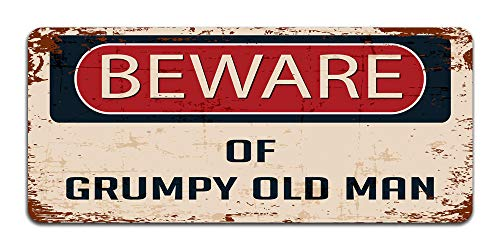 Print Crafted - Beware Of Grumpy Old Man - Vintage Metal Sign | Funny For Dad | Man Cave Decor
