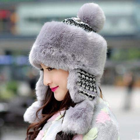 HAOYUN Babero Multifuncional Lei Feng Sombrero Mujer Princesa Sombrero Lindo Invierno esquí Marea Calor Resistente al frío Orejeras Gruesas Capucha étnica año Nuevo 头 围 【52-58】 Woolenthread-Gris