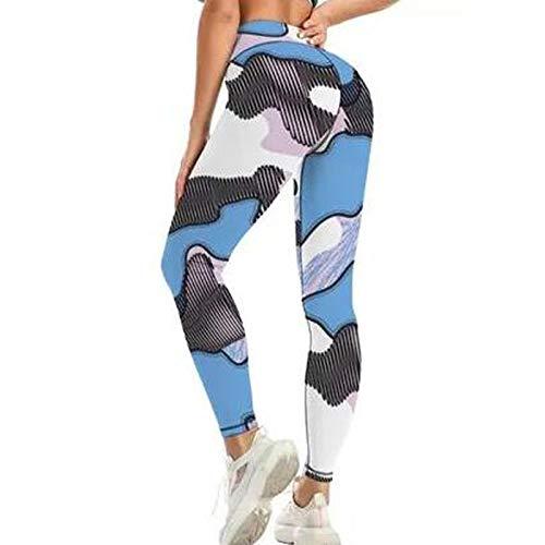 Keepwin Leggins Mujer Push Up Leopardo Camuflaje Pantalones Yoga Mujer Mallas de Deporte de Mujer Cintura Alta Pantalon para Running Gym Fitness (#Azul, Medium)