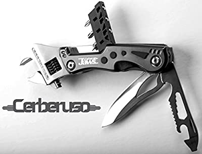 Cerberuso JAWS. Multi 9-in-1 Adjustable Wrench Knife with 3 Changeable Screwdrivers and LED Torch. Heavy Duty survival hand tool with 3 inch Blade & Bottle openers. With Free Nylon Belt Pouch by Cerberuso