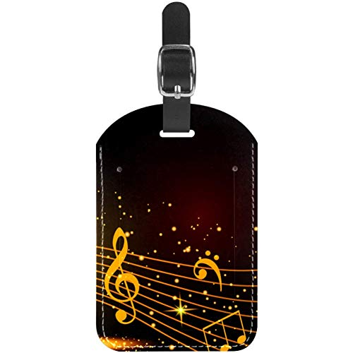 Luggage Tags Music Notes Leather Travel SuitcaseLabels 1 Packs