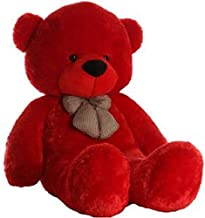 Frantic Soft Plush Fabric Teddy Bear with Neck Bow 3 Feet – Red