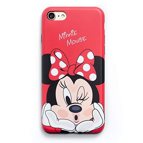 Onix Store Disney Minnie e Mickey Case per iPhone 7Plus / 8 Plus, Alta qualità TPU Silicone (Red Minnie)