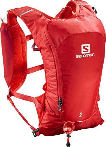 Salomon Agile 6 Set Mochila Ligera para Carrera de montaña y Senderismo, Práctica y cómoda, Capacidad 6l, Unisex Adulto, Roja (Fiery Red), Talla única