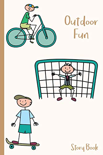 Outdoor Fun Story Book: Stick Figure Boys Playing Outside - 6 x 9