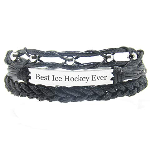 Miiras Handgemachtes Armband für Frauen - Best Ice Hockey Player Ever - Schwarz - Aus Geflochtenes Seil und Rostfreier Stahl - Geschenk für Eishockeyspieler