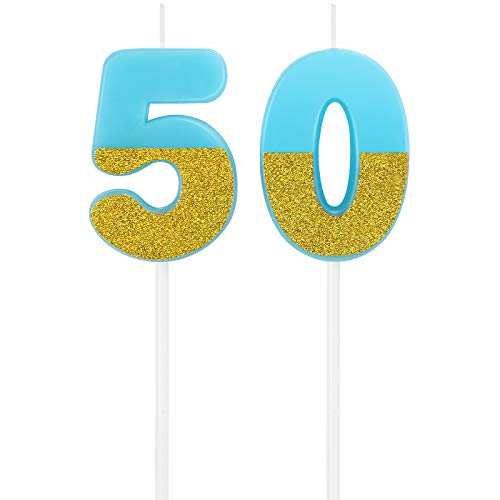 50th Happy Birthday Cake Candles Number Candles Birthday Candle Cake Topper Decoration for Birthday Favor, Party Celebration (Blue)