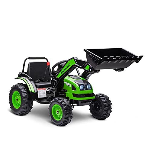 HOMCOM Tractor Excavadora Eléctrico para Niños de +3 Años Vehículo Infantil con Batería 6V Pala Música y Luces Velocidad de 2 Niveles 132x62x65 cm Negro y Verde