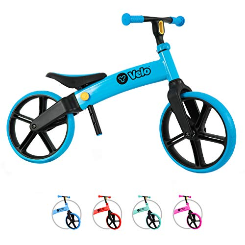 Yvolution Y Velo Senior Balance Bike for Kids | No Pedals Training Bicycle Ages 3 to 5 Years Old (Blue),Small
