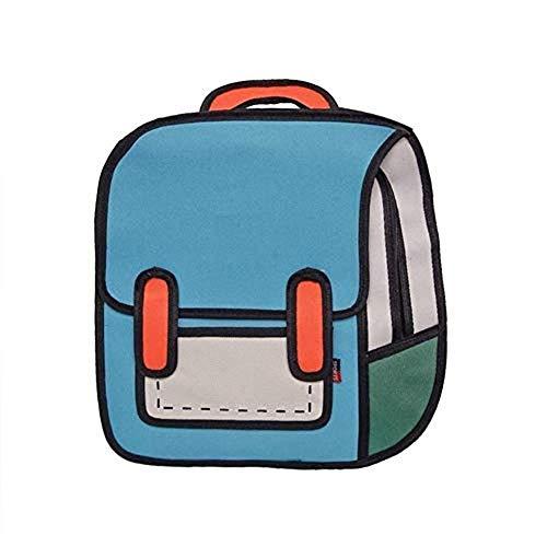 2304/5000 ???? Dibujo 2D de Estilo de Salto 3D de Bolso de Hombro de Papel de Dibujos Animados Mochila de cómic Bookbag (Blue)