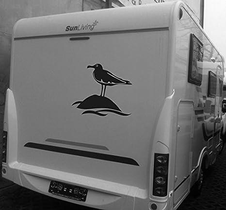 Kfz Aufkleber Möwe Autoaufkleber Wohnwagen Aufkleber Meer Küste Verschiedene Größen M070 Schwarz 450 Mm X 360 Mm Küche Haushalt