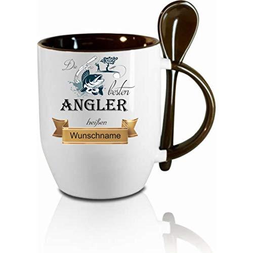Crealuxe Löffeltasse m. Wunschname Die besten Angler heißen. Wunschname - Kaffeetasse mit Motiv, Bedruckte Tasse mit Sprüchen oder Bildern