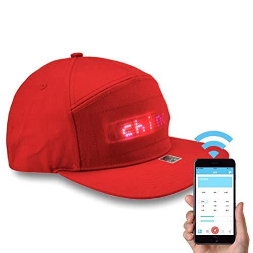 LED Smart Cap móvil APP pantalla escritura pantalla LED Baseball Cap sombrero Flat Peak LED Cool Hat para Party Club D