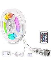 B.K.Licht LED Strip 3m, RGB, afstandsbediening, zelfklevend, kleurverandering, verkortbaar, LED Stripes, lichtketen, lint, strepen, LED-strip light, LED-lichtstrip, wit