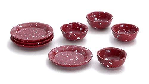 Melody Jane Maison de Poupées Cuisine Accessoire Rouge Plaques & Plat Ensemble 305