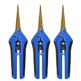 LANSONTECH Tijeras de podar de poda Manual para jardinería con Cuchillas Curvas Cuchillas de precisión recubiertas de Titanio - Paquete de 3 (Azul)