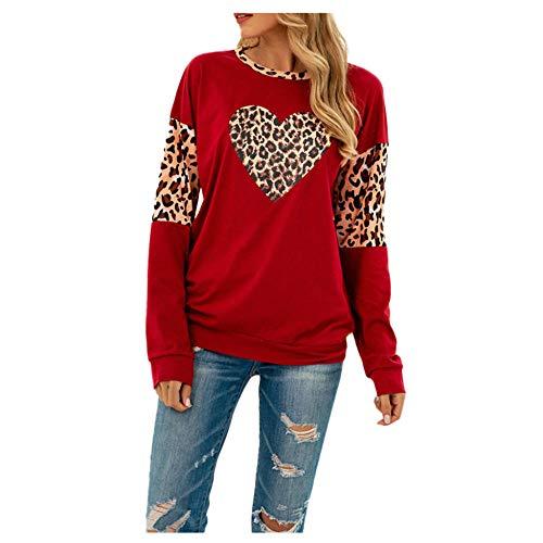 Hoodie Capucha Suéter Ropa De Mujer Sudadera De Mujer Estampado O-Cuello Manga Larga Suelto Fino Estampado De Leopardo Bloque De Color Sudadera Niñas Sudadera De Mujer-Red_XL