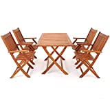 YANG - Juego de Mesa y sillas de Comedor de jardín de Madera de eucalipto, 4 plazas, Muebles de Exterior Plegables, Certificado FSC