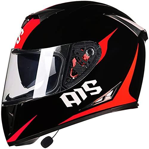 MOMOJA Casco integral con auricular Bluetooth, casco de moto, casco Bluetooth integrado, doble espejo, homologado ECE T, XL