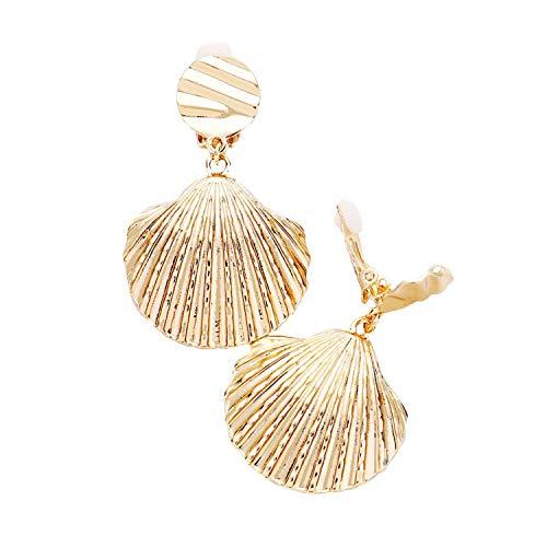 Schmuckanthony Hoernel Holiday Long Lightweight Clip-On Earrings Gold Shell 5.2 cm Long