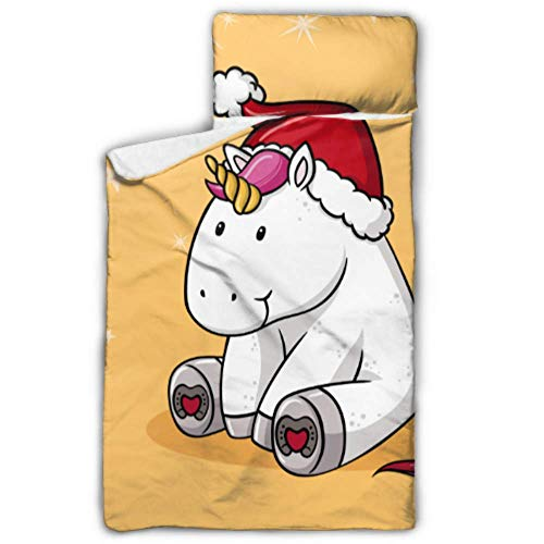 WYYWCY Niedliche Weihnachten Comic Unicorn Kids Lightweight Schlafsack Reisen Schlafsack mit Decke und Kissen Rollup Design ideal für Vorschulkindergarten Sleepovers 50