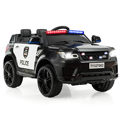 HONEY JOY Ride On Truck, Police Pursuit SUV Car w/2.4G Bluetooth Remote Control, Siren Flashing Light, Intercom, Spring Suspension, 3 Speeds, 12V Electric Motorized Vehicles for Kids (Black)