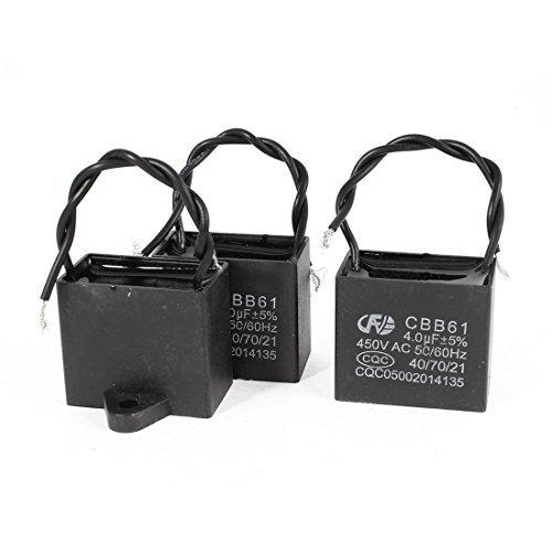 DealMux a14060400ux0586 2 piezas CBB61 450V 4uF doble de hilo rectángulo no...
