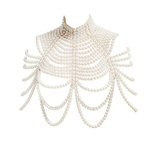 CCbodily Pearl Body Chain Bra - Fashion Shoulder Necklaces Bra Body Jewelry (S-Pearl)