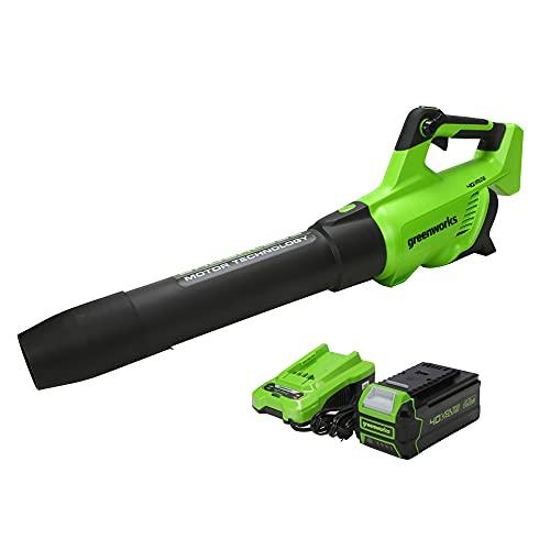 Greenworks 40V (550 CFM / 130 MPH) Brushless Axial Leaf Blower 4Ah USB...