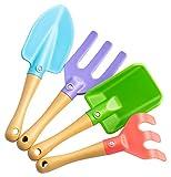UPP set de herramientas para niños I juego de pala, rastrillo y horquilla para jardín, playa y arenero I kit jardinería de juguete para niños (4 piezas)