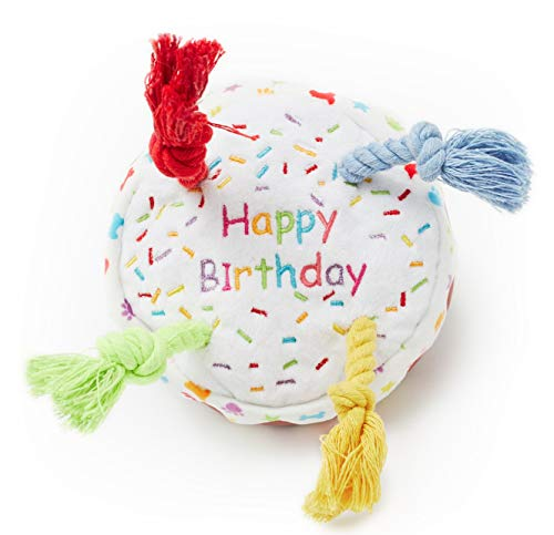 Pet London Dog Birthday Cake Squeaky Soft Plush Toy with Rope Candles in Fun Happy Bright Colours - Celebrate Your Dog's Happy Birthday - Plush Rainbow Pattern Dog Party Bday or Adoption Gift (Small)