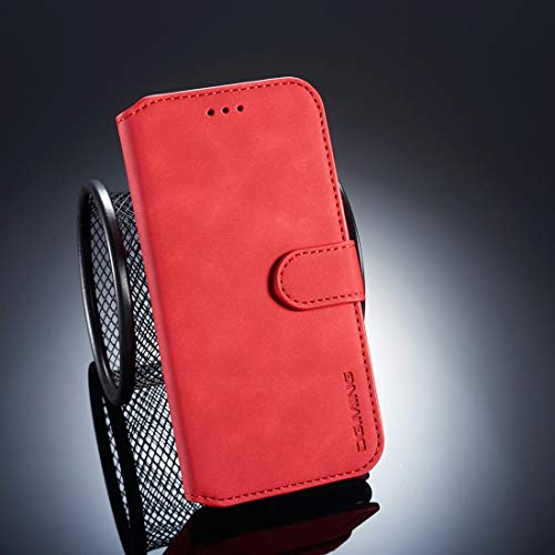 Todayday Easy Replacement Tool Retro Oil Side Horizontal Flip Case for Huawei P20 Lite/Nova 3e, with Holder & Card Slots & Wallet,Simple and Elegant Design (Black) (Color : Red)